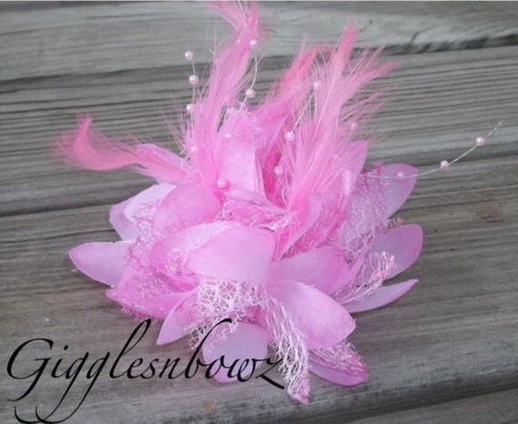 Fabulous LIMITED EDITION Feathers, Beads, and Lace Flower- PINK