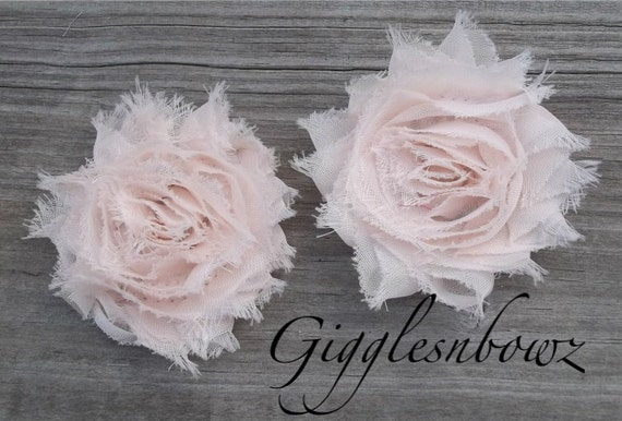 Set of TWO Shabby Frayed Vintage look Chiffon Rosette Flowers- CREAM