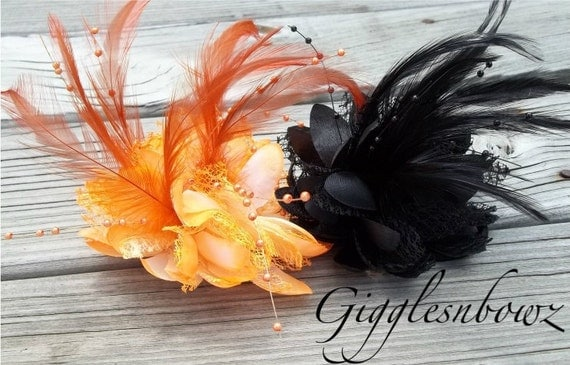 2 Fabulous Limited Edition Feathers, Beads, and Lace Flower- ORANGE and BLACK