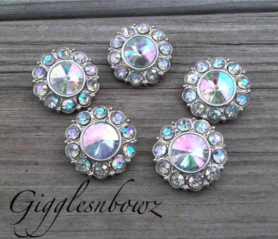 Rhinestone Buttons- 25mm AB Iridescent Plastic Acrylic Rhinestone Buttons- 5pc Headband Supplies- Diy Wedding- Brooch Bouquet