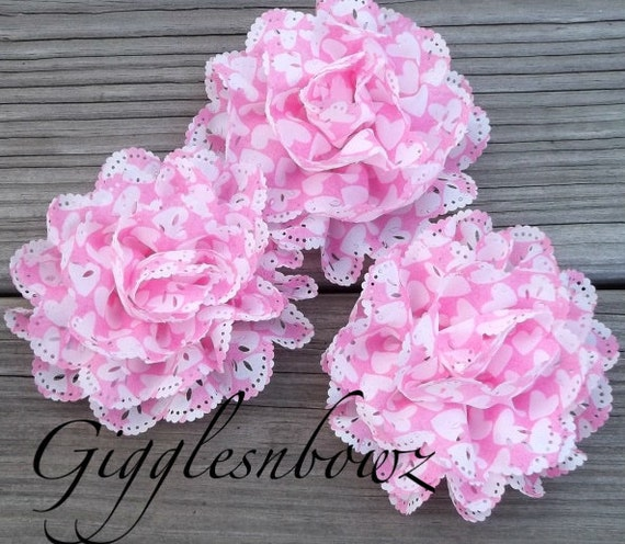 New Item- 3 Piece Set Chiffon Eyelet Fabric Rosette Puff Flower 4 inch- Pink with White Hearts