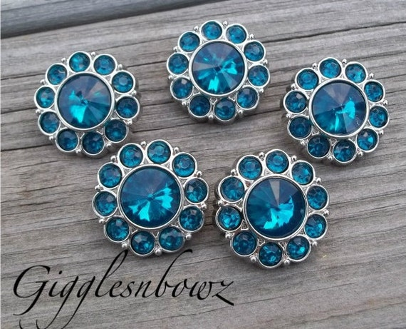 BeSTSeLLER- Set of FIVE TEAL Acrylic Rhinestone Buttons 25mm