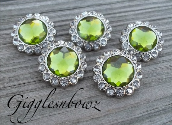 New Set of Five LIMITED EDITION Lime Green and Clear Rhinestone Buttons 23mm