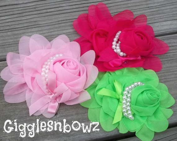 New COLORS Set of 3- Chiffon Rolled Rose with layers of Ruffles and Pearls- Lime, Shocking, Pink