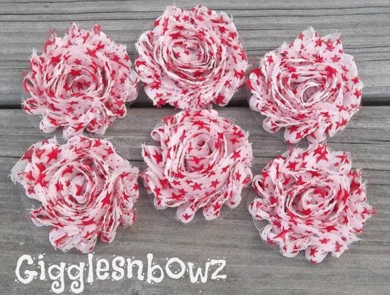 Set of SIX Shabby Frayed Vintage look Chiffon Rosette Flowers- Red Star Shabbies