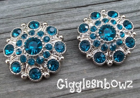 NEW Set of Two LIMITED EDITION Teal Acrylic Rhinestone Buttons 27mm