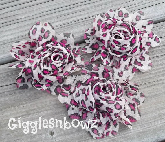 New to Shop- 2.5 Inch Chiffon Rolled Rose with Ruffles- Pink Leopard Print, Set of Three