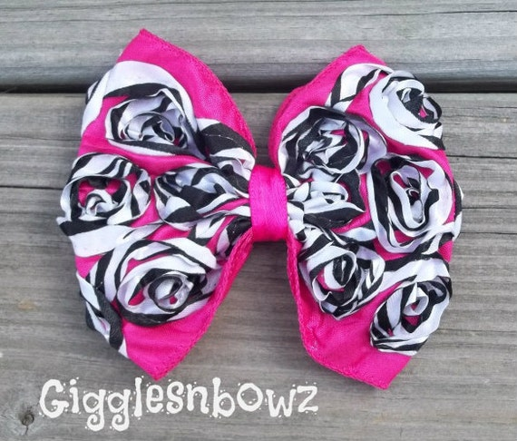WiLD CoLLeCTiON- Hot Pink ZeBRa Print Satin ROSeTTe RiBBoN BoW- 4 inch