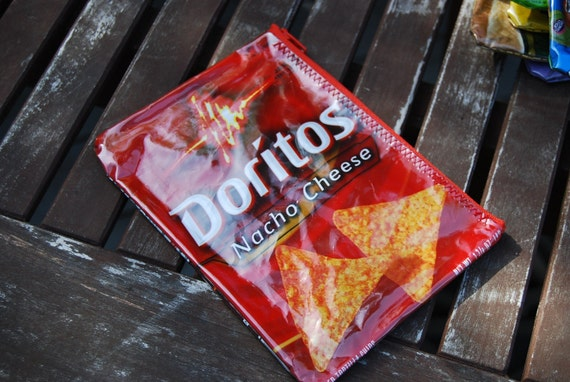 Recycled DOritos Nacho Cheese wrapper UPCYCLED into Zippered POUCH // Cosmetics // Itouch //