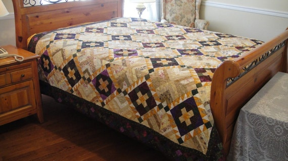 Gorgeous Fall Colors Stunning String Pieced Bed Quilt Yummy Browns, Greens, Rich Golds and Purples