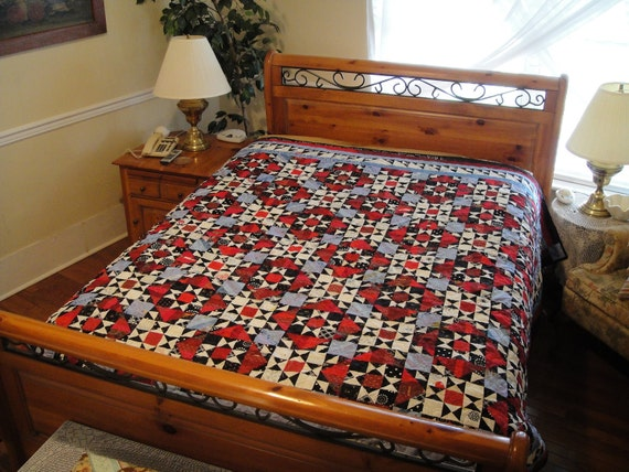 "Tennessee Stained Glass  Bed Quilt-  96"" x 86"" Full or Queen"