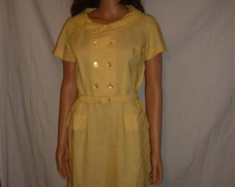 Vintage Yellow Short Sleeve Belted Dress