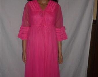 Vintage Hot Pink 2 piece Boudoir Set