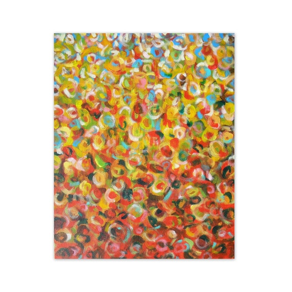 Abstract painting original art orange red yellow modern art - Wildfire by Jessica Torrant - Free US Shipping