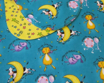 2 Piece Flannel Receiving Blanket and Burp Cloth  -  Heh Diddle Diddle - Nursery Rhyme Blanket for Baby - Stroller Blanket