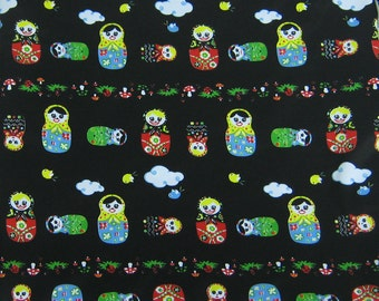 PUL Diaper Cut -  Matryoshka Doll 20 x 20 Inches - Black Doll Waterproof Diaper Fabric for Baby Girl - Diaper Cover Fabric