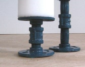 Set of Two Prussian Blue Industrial Pillar Candle Holders