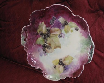 Porcelain Serving Plate, Hand Painted  with Blackberries