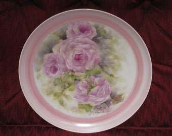 Porcelain Plate, Hand Painted  with Four Pink Roses