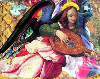 "Renaissance Angel 5""x7"" Collage Greeting Card"