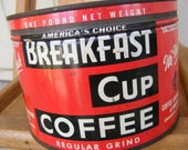 Vintage Coffee Tin Key Wind 40s 50s Red and Black Breakfast Cup