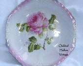 Vintage Porcelain Ceramic Plate Germany decorative pink Rose design cottage shabby chic WLV Team