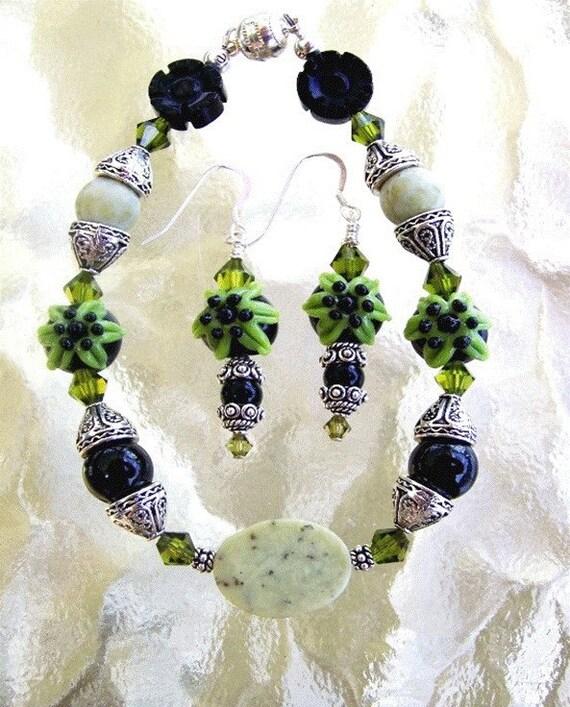Black Onyx & Jade Bracelet Set - Free Shipping