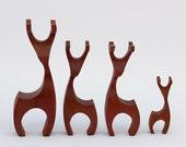 Vintage Carved Teak Wood Reindeer Set of 4 Figures
