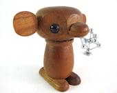 RESERVED 4 loveaboundshere - Vintage Mid Century Modern Danish Carved Monkey Figure in Teak