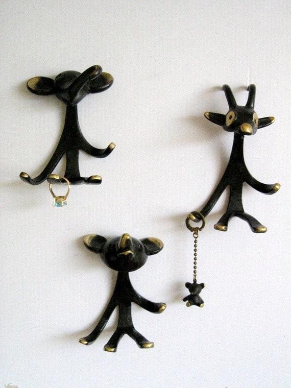 Rare Vintage Modernist 50s Brass Walter Bosse Hagenauer Elephant Figurines Choose 1 - Goat and Bear