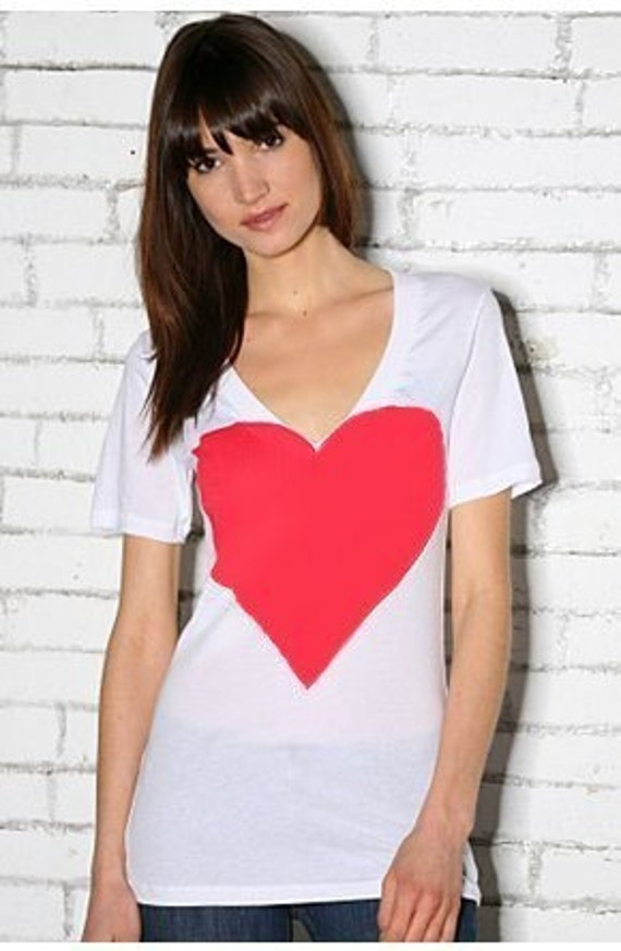Heart Deep V Neck Artist Series Tee in White and Red