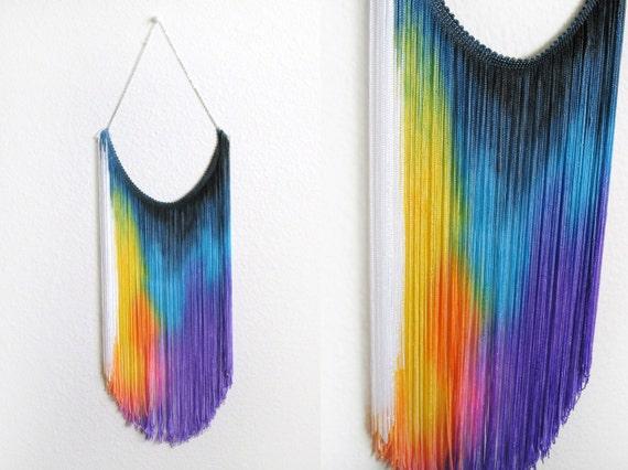 5 WHOLESALE - Splash Dyed HAND PAINTED Fringe Bib Yoke Collar Necklace in Spectrum Rainbow