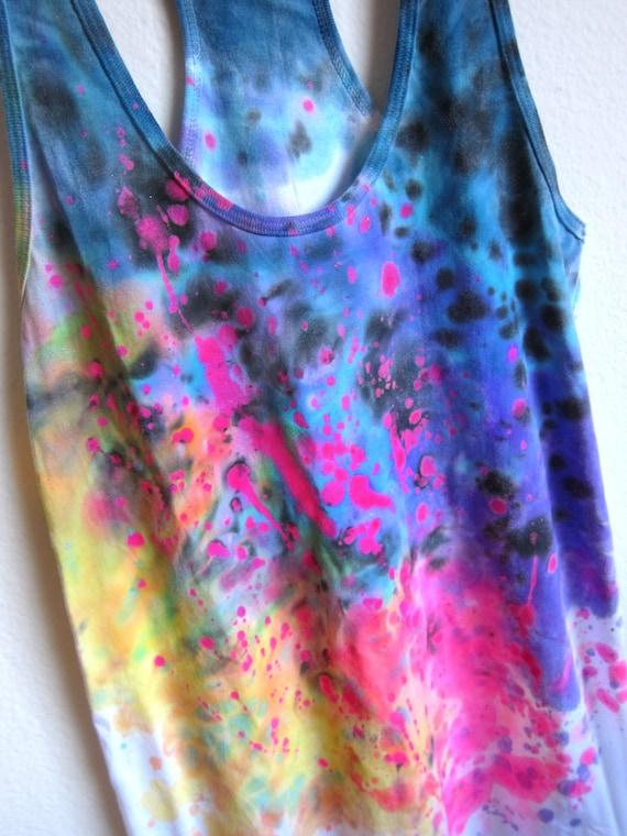 CUSTOM for Kenesa - Splash Dyed Hand PAINTED Scoop Neck Racerback Tunic Tee Dress in White Spectrum Rainbow - XS S M L