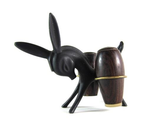 Vintage RARE Modernist 50s Brass Walter Bosse Donkey Carrying Teak Salt and Pepper Shakers