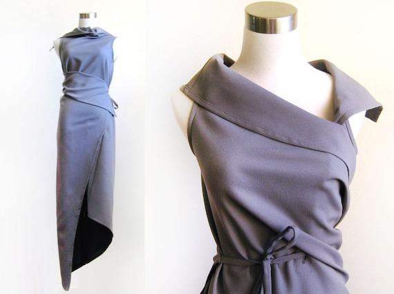Vintage 1960s Mod Avant Garde Grecian Draped Reversible Wrap Maxi Dress in Slate Grey - XS S M L