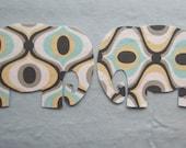 2 Large Elephant Fabric Iron On Appliques