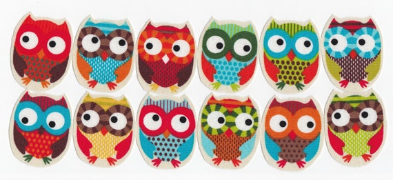 LAST SET 6 Chubby Fabric Iron On Owl Appliques