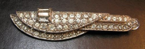 Vintage Art Deco Rhinestone Pin Wear Repurpose Upcycle