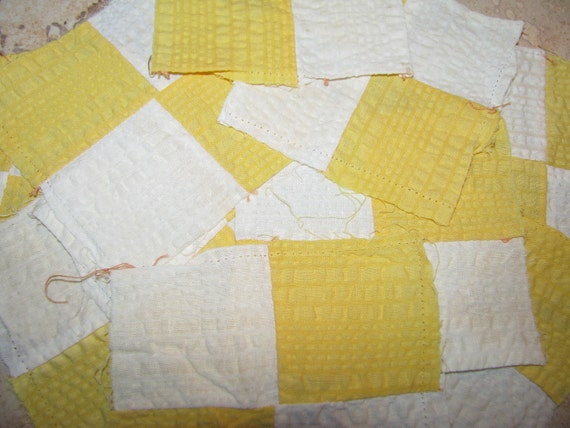 10 Vintage Quilt Squares Yellow and White Quilt Square TREASURY ITEM
