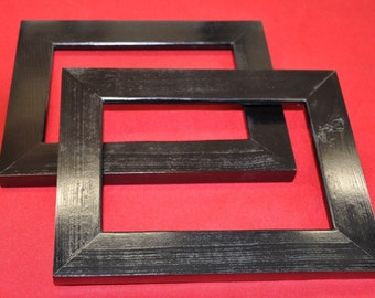 Pair of Black 8x10 Picture Frames with Glass Backing and Mounting Hardware