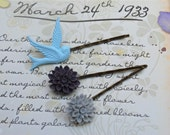 Chrysanthemum and Dove bobby pins set of 3............