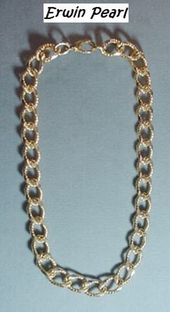 Erwin Pearl Bold Gold Tone Heavy Chain Necklace Vintage