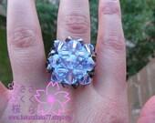 Swarovski and Czech crystal ring Handmade