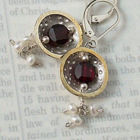 Center of the Universe - Fine Silver, 22kt Gold, Garnet and Pearl Earrings
