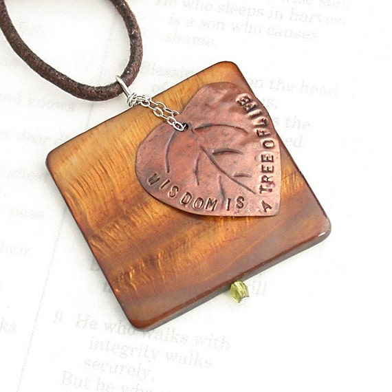 Wisdom Is - Necklace of mother of pearl, copper, sterling silver