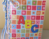 ABC alphabet  book for baby or toddler, baby shower gift,  birthday gift, 28 pages of fun. Boy or girl. blocks