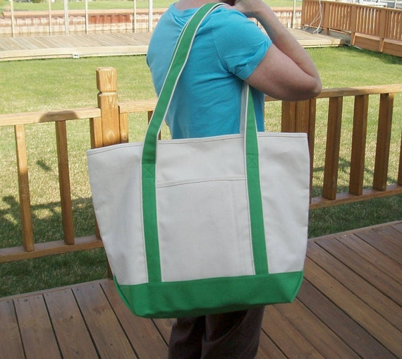 Extra Large Tote Bag, with key fob, Personalized Free, Clover Green
