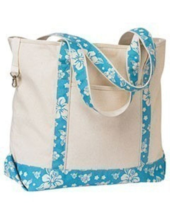 Personalized Extra Large Tote Bag Natural With Turquoise