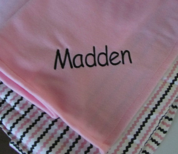 Nap Mat for Daycare, Preschool or Kindergarten,Girl napmat,  Personalized Free,  Pink and Black Rick Rack