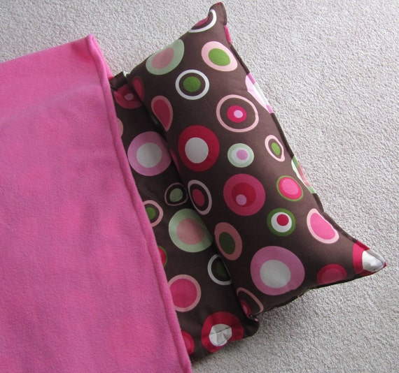 Nap Mat. Girls, Personalized free,  Great for Daycare, Preschool or Kindergarten. Chocolate with Pink Dots